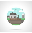 Village scene detailed flat color icon vector image