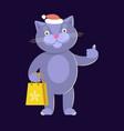 cat wearing santas hat vector image