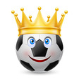 Gold crown on soccer ball vector image