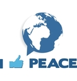 i like peace globe as speech bubble vector image