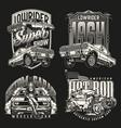 american custom cars vintage emblems vector image vector image