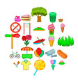 beautiful park icons set cartoon style vector image