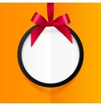 Black round hanging frame with red silky bow and vector image