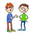 boys kid characters talking cartoon vector image vector image