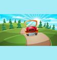 car road cartoon forest landscape vector image