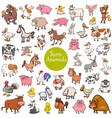 cartoon farm animal characters big set vector image vector image