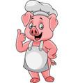 cartoon happy pig chef giving a thumb up vector image vector image
