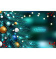 christmas tree branches on a dark night bokeh vector image vector image