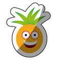 color kawaii fruit pineapple happy icon vector image vector image