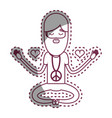 contour man meditation with hearts and beard vector image vector image