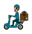 courier on scooter cartoon vector image