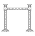 dark contour truss tower lift construction vector image vector image