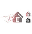 dissolved pixel halftone trash house icon vector image vector image