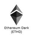 ethereum dark ethd crypto vector image