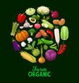 farm vegetables veggies cartoon poster vector image vector image