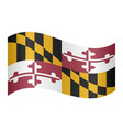 flag of maryland waving on white background vector image vector image