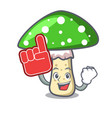 foam finger green amanita mushroom mascot cartoon vector image
