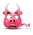 funny cute crazy pig icon devil smiley symbol vector image vector image