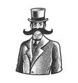 gentleman giant mustache line art sketch vector image vector image