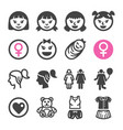 girl icon set vector image vector image