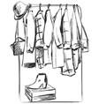 hand drawn wardrobe sketch furniture clothes on vector image vector image