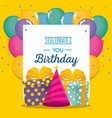 happy birthday celebration card with gifts vector image vector image