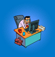 happy smiling male businessman works at an office vector image vector image
