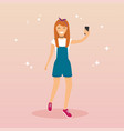 hipster girl taking a selfie with mobile phone vector image vector image