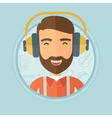 Man listening to music in headphones vector image vector image