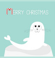 merry christmas candy cane text white sea lion vector image vector image