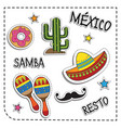 mexican party sticker applique mexico style vector image