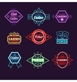 Neon Light Poker Club and Casino Emblems vector image vector image