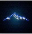 neon mountains icon on dark brick wall background vector image vector image