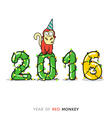 New Year card with Monkey for year 2016 vector image vector image