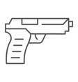 pistol gun thin line icon weapon and army vector image
