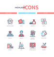 poker and gambling - line design style icons set vector image