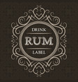 rum drink label design template patterned vintage vector image vector image