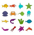 sea animals icons doodle set vector image