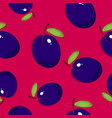 seamless pattern plum on pink background vector image vector image