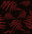 seamless pattern with fern red on a black vector image vector image