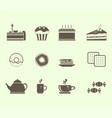 set of 12 icons for tea drinking tea and various vector image