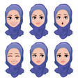 set of face expressions of arabic woman vector image vector image