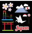 set of greatest japan symbols vector image vector image