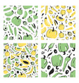 set of hand drawn seamless pattern with fruits and vector image vector image