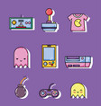 set of retro videogames cartoons vector image