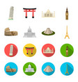 sights of different countries cartoonflat icons vector image vector image