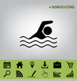 swimming water sport sign black icon at vector image vector image
