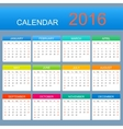 template calendar 2016 years Week starts vector image vector image