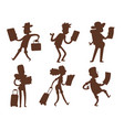 traveler people searching right direction on map vector image vector image