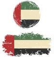 United Arab Emirates round and square grunge flags vector image vector image